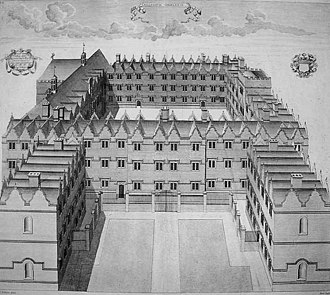 Oriel College, Oxford - 1733 copper engraving of the College, looking south, after the completion of Bishop Robinson's and Provost Carter's buildings in Second Quad