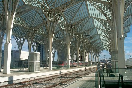 Postmodern design at Gare do Oriente, Lisbon, Portugal, by Santiago Calatrava - Architecture