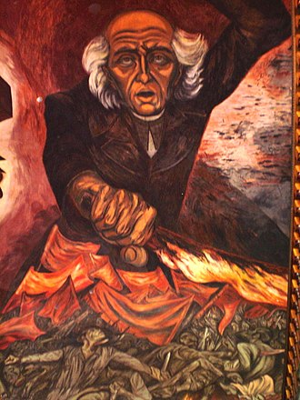 Mexican War of Independence - Miguel Hidalgo y Costilla, by José Clemente Orozco, Jalisco Governmental Palace, Guadalajara.