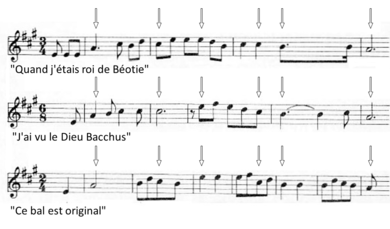 three individual lines of a musical score