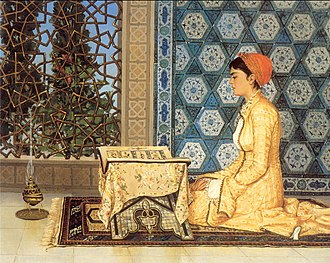 Women in Islam - Girl Reciting the Qur'ān (Kuran Okuyan Kız), an 1880 painting by the Ottoman polymath Osman Hamdi Bey, whose works often showed women engaged in educational activities.