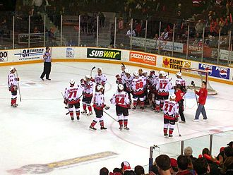 Ottawa 67's - The Ottawa 67's celebrate a playoff victory.
