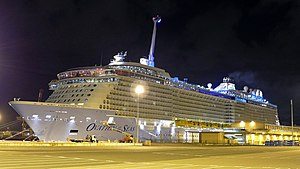 "Ovation of the Seas with ""North Star"" observation tower raised, Fremantle Harbour, 2016"