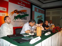 Jimmy Wales (far left) at a session on Open Source, Open Access, at the Owning the Future conference held in New Delhi, India,  August 24, 2006