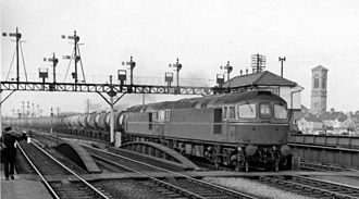 British Rail Class 33 - A pair of 33s -  D6527 and D6505 at Oxford with a Bamford Bridge (Birmingham) to Fawley (Southampton) oil train in March 1964.