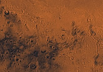 Aeolis quadrangle - Image of the Aeolis Quadrangle (MC-23). The northern part contains Elysium Planitia. The northeastern part includes Apollinaris Patera. The southern part mostly contains heavily cratered highlands.