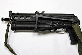 PP-19 Bizon - Left side with folded buttstock