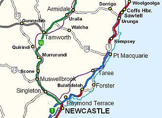 New England Highway - ... through Armidale, Tamworth, Maitland and Hexham where it joins the Pacific Highway