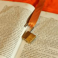 Padlock and badge holder on old book and orange background 02.jpg