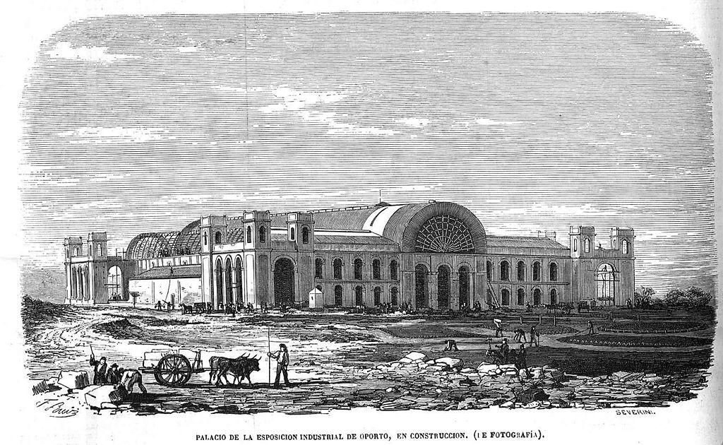 Palais de Cristal de Porto en construction dans le jardin en 1865.