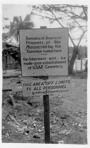 Palawan massacre - Burial Site of the Palawan Massacre December 14,1944. Photo taken by Bob Meza US Navy in March 1945