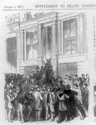 Panic of 1873 - A bank run on the Fourth National Bank No. 20 Nassau Street, New York City, from Frank Leslie's Illustrated Newspaper, 4 October 1873
