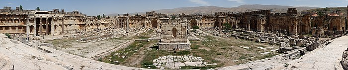 Panoramic view of the Great Court of Baalbek temple complex, in Lebanon