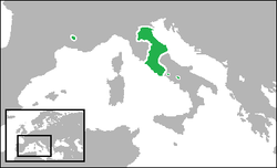Cairt o the Papal States (green) in 1700 (aroond its greatest extent), includin its exclaves o Benevento an Pontecorvo in Soothren Italy, an the Comtat Venaissin an Avignon in Soothern Fraunce.