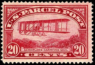 1912 U.S. twenty cent Parcel Post stamp, the first stamp to depict an airplane 320px-Parcel_Post_Aeroplane_mail_20c_1913_issue.JPG