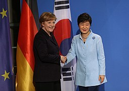 Park Geun-hye and Angela Merkel Summit 2014.jpg