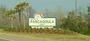 Sign on U.S. Route 90 when entering Pascagoula...