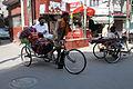 Pashmina trader in rickshaw (8132219959).jpg