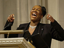 "Patti LaBelle singing ""Way Up There"" at the Space Shuttle Columbia memorial service at Washington National Cathedral in Washington, D.C. on February 6, 2003"