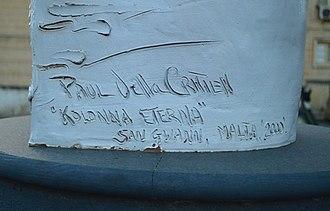 Kolonna Eterna - Signature of Paul Vella Critien on Kolonna Eterna