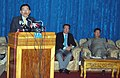 Pawan Kumar Chamling giving details of destruction caused by massive earthquake which hit Sikkim on 18th September 2011, at a press conference, in Gangtok. The Rajya Sabha MP, Shri O.T. Lepcha is also seen.jpg