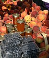 Peaches, Blueberries and Jam at a Farmers Market.jpg
