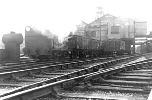 Kilmersdon - Peckett 0-4-0ST No.1788 (built 1929) works wagons under the coal wash from Kilmersdon Colliery, 1969