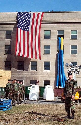 Pentagon Memorial - Preparing to lower the flag at the Pentagon on October 11, 2001