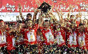 2010–11 Hazfi Cup - Persepolis players celebrate winning the 2010-11 Hazfi Cup