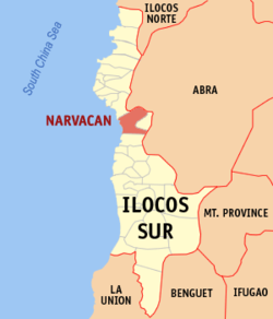 Map of Ilocos Sur showing the location of Narvacan