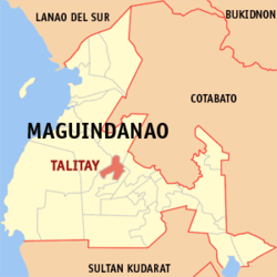 Map of Maguindanao showing the location of Talitay, now Sultan Sumagka