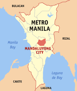 Map of Metro Manila showing the location of Mandaluyong City.