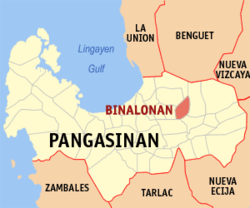 Map of Pangasinan showing the location of Binalonan