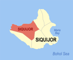 Map of Siquijor with location of Siquijor