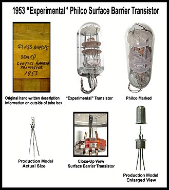 Transistor - Philco surface-barrier transistor developed and produced in 1953