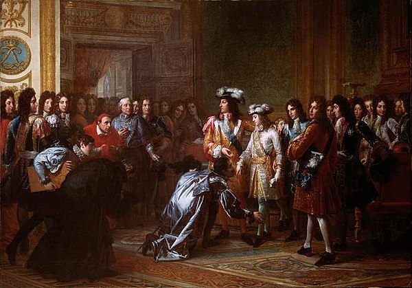 Proclamation of Philip V as King of Spain in the Palace of Versailles on November 16, 1700 Philippe de France proclame roi d'Espagne.jpg