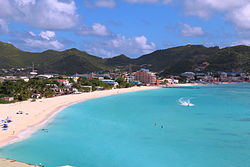 View on Great Bay towards Phillipsburg, Capital of St. Maarten