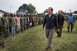 Bweremana - UN representative Martin Kobler arriving in Bweremana on 18 December 2013, while the town was serving as a transit camp to combatants of armed groups who decided to lay down their arms.