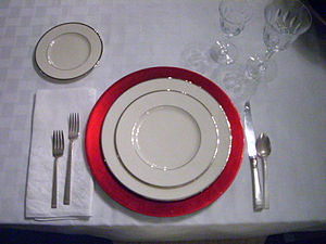 Charger (table setting) - Place setting with red charger.