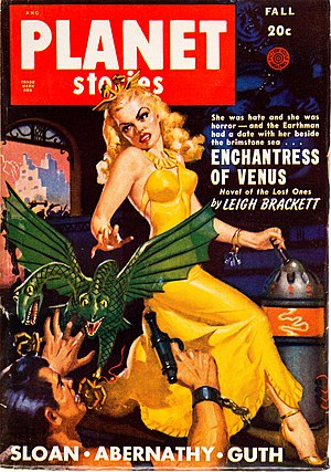 "Eric John Stark - Brackett's second Stark novella, ""Enchantress of Venus"", took the cover of the next issue of Planet Stories (Fall 1949)"