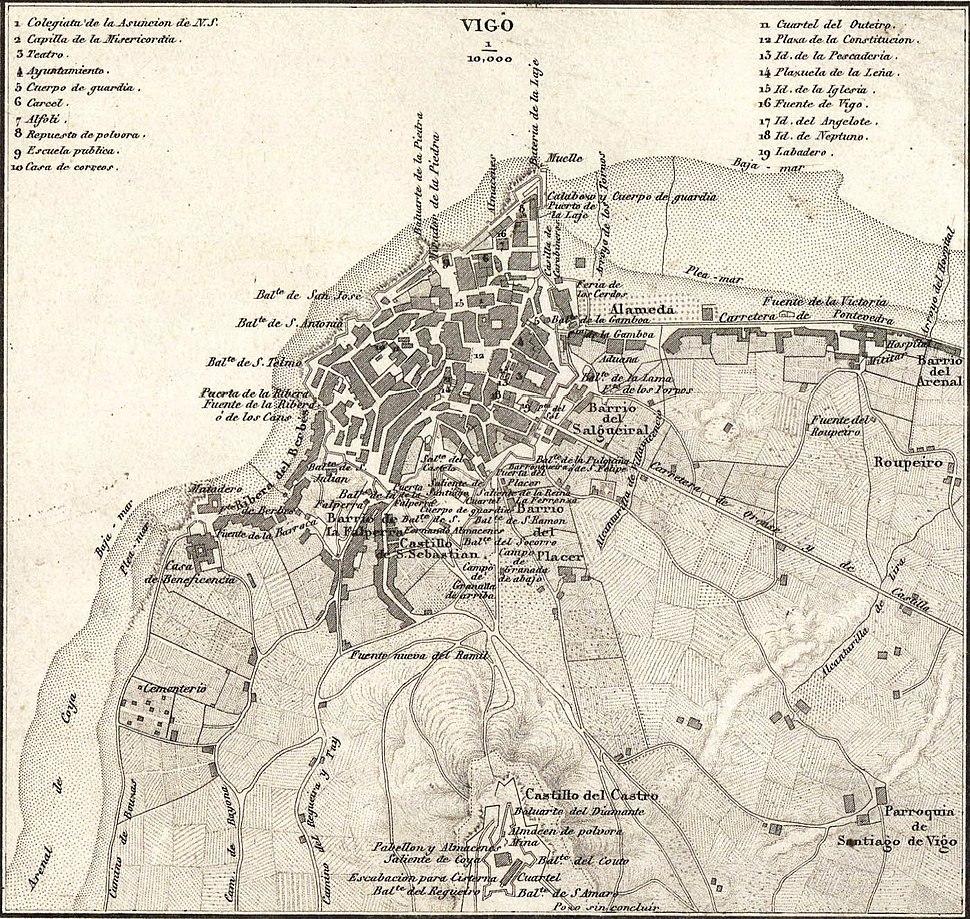 Plano de Vigo, Francisco Coello e Pascual Madoz, 1856