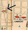 Plano de la ciudad de Buenos Aires en 1713, señalada la futura Manzana de las Luces.jpg