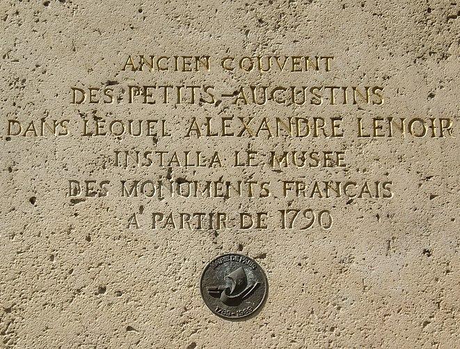 Fichier:Plaque Alexandre Lenoir, 14 rue Bonaparte, Paris 6.jpg