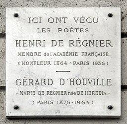Plaque Henri de Régnier- Gérard d'Houville, 24 rue Boissière, Paris 16