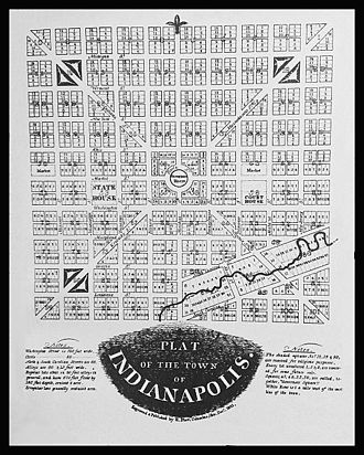 History of Indianapolis - Plat of the Town of Indianapolis from December 1821