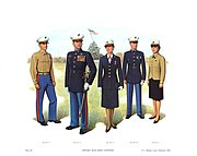 Plate III, Officers' Blue Dress Uniforms - U.S. Marine Corps Uniforms 1983 (1984), by Donna J. Neary