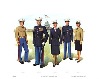 "Uniforms of the United States Marine Corps - Officer Blue Dress Uniform. From left to right: ""C"",""A"",""A"",""B"",""C"""