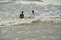 Playful Girls with Sea Waves - Mandarmani - Dadanpatrabarh - East Midnapore 2015-05-02 9008.JPG