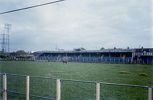 Wimbledon F.C. - Plough Lane's South Stand, pictured in 2000
