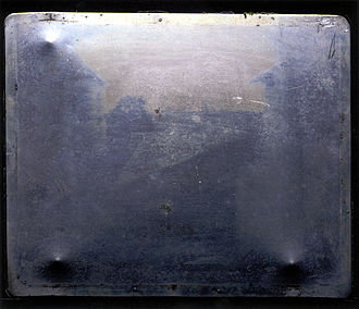 View from the Window at Le Gras - Close up of the original plate. With the enhanced version as a guide the major elements of the scene can just be discerned.